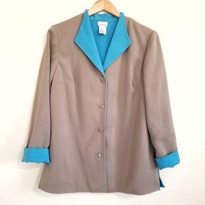 Liz Baker Tan & Blue Reversible Blazer Jacket